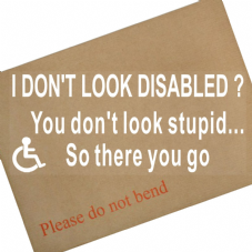 1 x I Don't Look Disabled ? You Don't Look STUPID So there you go-200x87mm-Internal Window Sticker